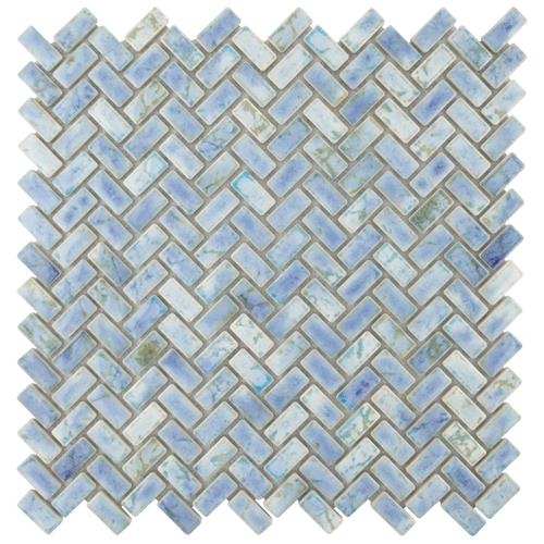 "Picture of 11.63""x11.63"" Rustica Herringbone Neptune Blue Porcelain M"
