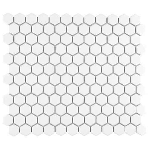 "Picture of Metro Hex Matte White 10-1/4""x11-7/8"" Porcelain Mos"