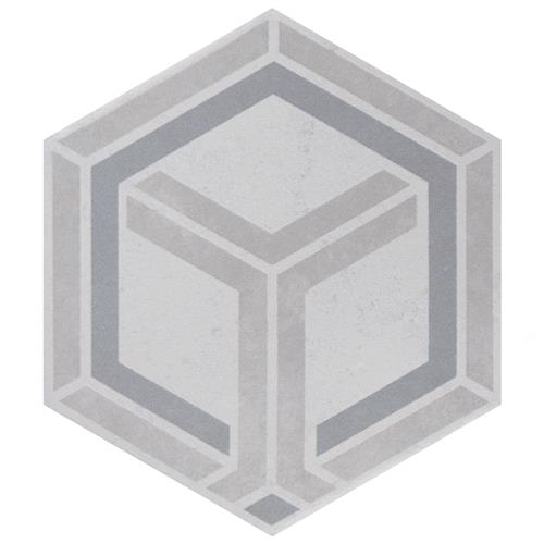 "Picture of Odda Hex Decor Geo 5-7/8""x6-3/4"" Porcelain F/W Tile"