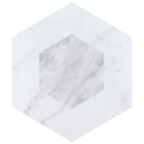 "Picture of Classico Bardiglio Hexagon Geo 7""x8"" Porcelain F/W Tile"