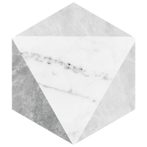 "Picture of Classico Carrara Hexagon Peak 7""x8"" Porcelain F/W Tile"