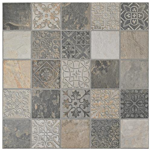 "Picture of Deco Calzada Ardesia 17-1/2""x17-1/2"" Porcelain F/W Tile"