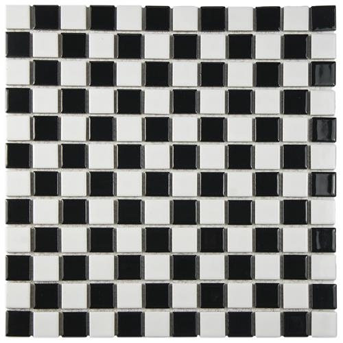 "Picture of Checkerboard Square Glossy 13""x13"" Porcelain Mos KA325"
