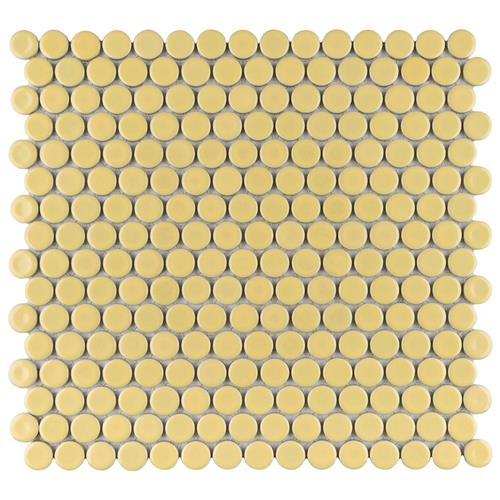 "Picture of 12.63""x12"" Hudson Penny Round Glossy Vintage Yellow"