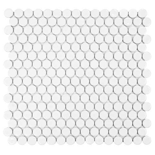 "Picture of 12.63"" x 12"" Hudson Penny Round Glossy White"