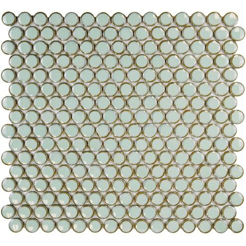"Picture of 12.63""x12"" Hudson Penny Round Glossy Light Green"