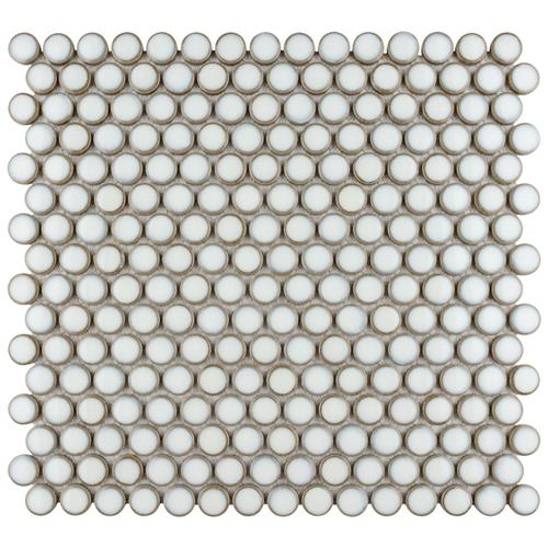 "Picture of 12.63""x12"" Hudson Penny Round Snowcap White"