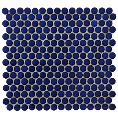 "Picture of 12.63""x12"" Hudson Penny Round Glossy Blue Eye"
