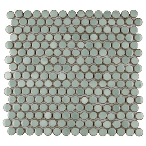"Picture of 12.63""x12"" Hudson Penny Round Mint Green"