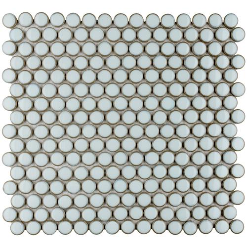 "Picture of 12.63"" x 12"" Hudson Penny Round Silk White"