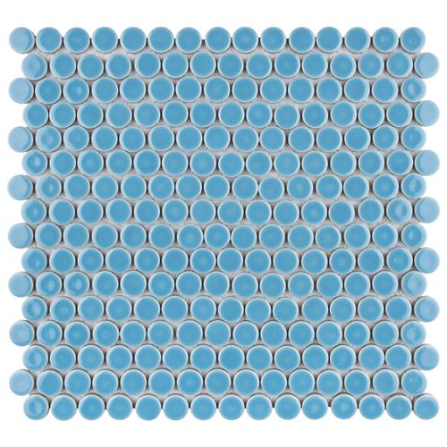 "Picture of 12.63""x12"" Hudson Penny Round Glossy Light Blue"