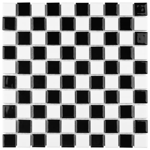 "Picture of Checkerboard Square Glossy 12""x12"" Porcelain Mos TCK1"