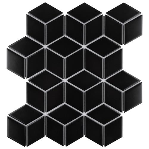 "Picture of Metro Rhombus Matte Black 10-1/2""x12-1/8"" Porcelain Mos"
