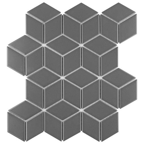 "Picture of Metro Rhombus Matte Grey 10-1/2""x12-1/8"" Porcelain Mos"