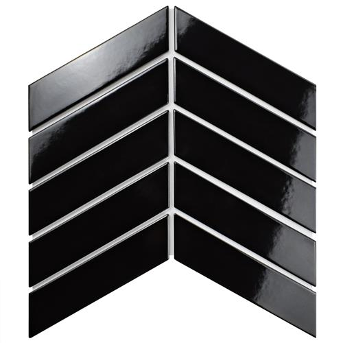 "Picture of Metro Soho Chevron Glossy Black 1-3/4""x7"" Porcelain F/W Tile"