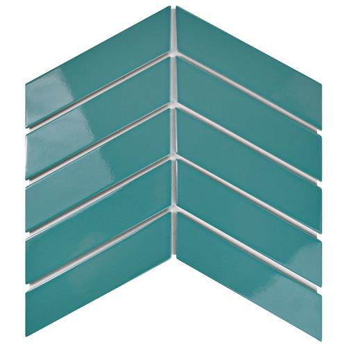 "Picture of Metro Soho Chevron Glossy Teal 1-3/4""x7"" Porcelain F/W"