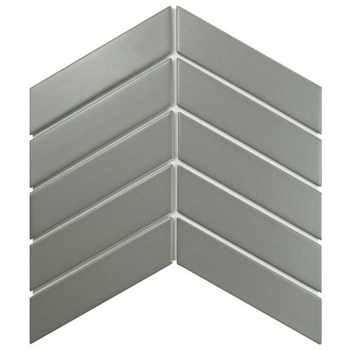 "Picture of Metro Soho Chevron Matte Light Grey 1-3/4""x7"" Porcelain F/W"
