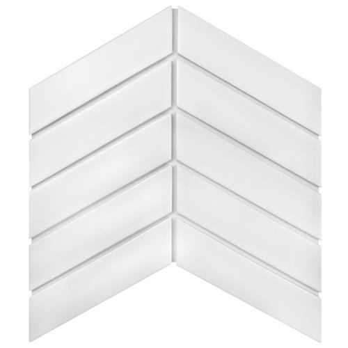 "Picture of Metro Soho Chevron Matte White 1-3/4""x7"" Porcelain F/W Tile"