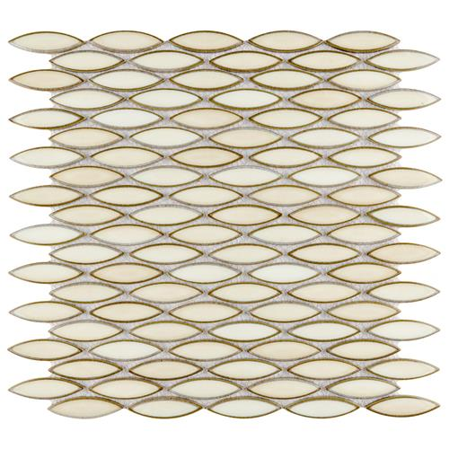 "Picture of Pescado Glossy Crema 12"" x 12-1/2"" Porcelain Mosaic"