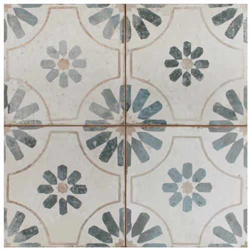 "Picture of Kings Blume Blue 17-5/8""x17-5/8"" Ceramic Floor/Wall Tile"