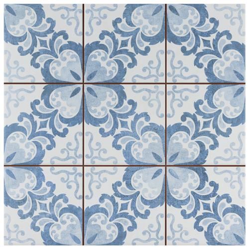 "Picture of Harmonia Floral Lattice Blue 13""x13"" Ceramic Floor/Wall Tile"