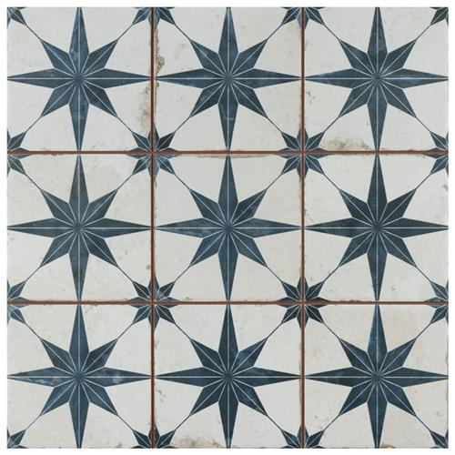 "Picture of Harmonia Kings Star Blue 13""x13"" Ceramic Floor/Wall Tile"