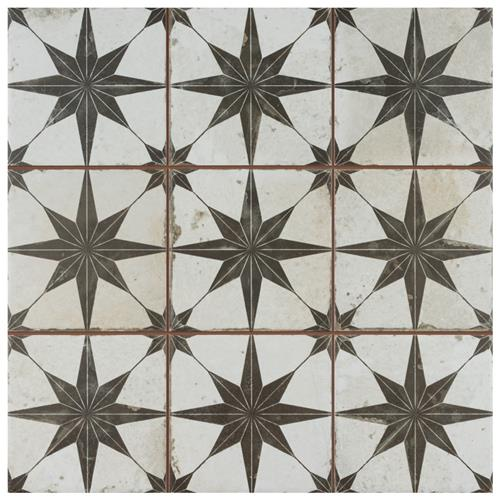 "Picture of Harmonia Kings Star Nero 13""x13"" Ceramic Floor/Wall Tile"