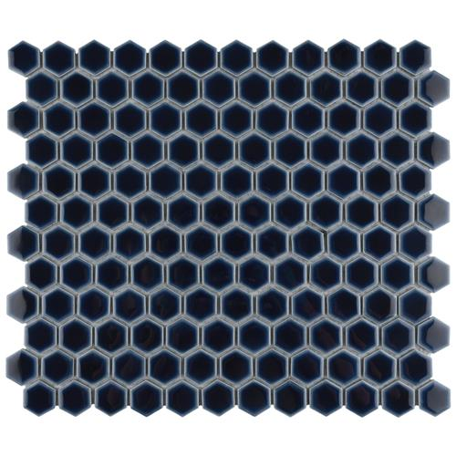 "Picture of Hudson Hex 1"" Smokey Blue 13-1/4""x11-7/8"" Porcelain Mosaic"