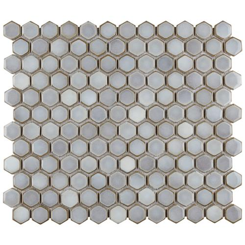 "Picture of Hudson Hex 1"" Grey Eye 13-1/4""x11-7/8"" Porc Mosaic"