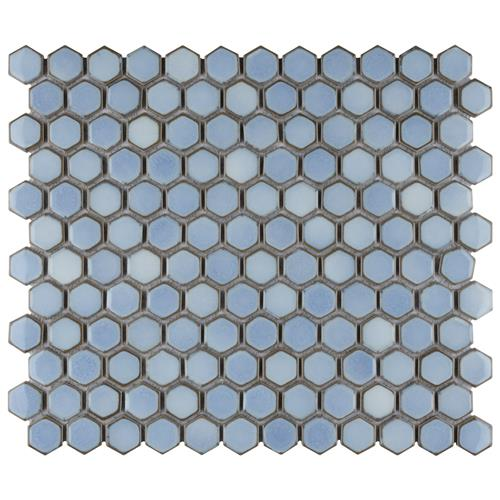"Picture of Hudson Hex 1"" Frost Blue 13-1/4""x11-7/8"" Porc Mosaic"