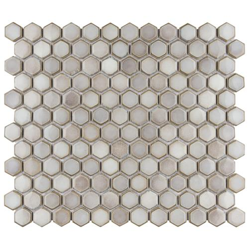 "Picture of Hudson Hex 1"" Dove Grey 11-7/8"" x 13-1/4"" Porcelain Mosaic"
