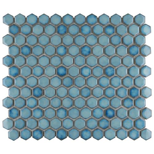 "Picture of Hudson Hex 1"" Marine 13-1/4""x11-7/8"" Porcelain Mosaic"