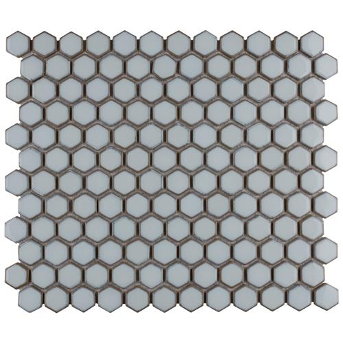 "Picture of Hudson Hex 1"" Silk White 13-1/4""x11-7/8"" Porcelain Mosaic"