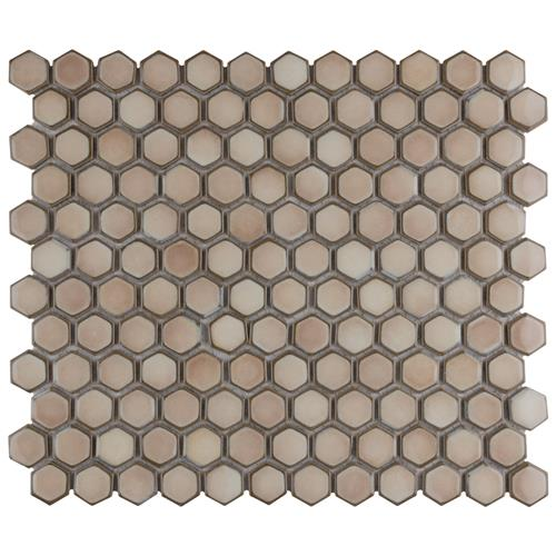 "Picture of Hudson Hex 1"" Truffle 13-1/4""x11-7/8"" Porcelain Mosaic"