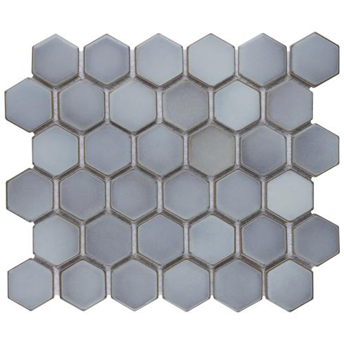 "Picture of Hudson Due Hex 2"" Grey Eye 12-1/2""x11-1/4"" Porcelain Mosaic"