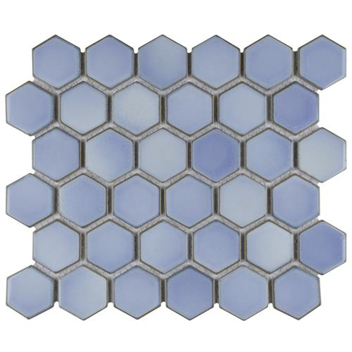 "Picture of Hudson Due Hex 2"" Frost Blue 12-1/2""x11-1/4"" Porc Mosaic"