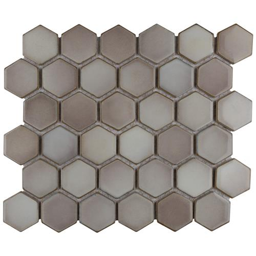 "Picture of Hudson Due Hex 2"" Dove Grey 12-1/2""x11-1/4"" Porcelain Mosaic"
