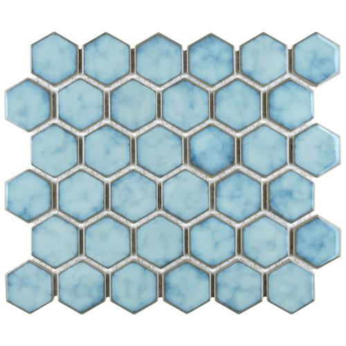 "Picture of Hudson Due Hex 2"" Marine 12-1/2""x11-1/4"" Porc Mosaic"