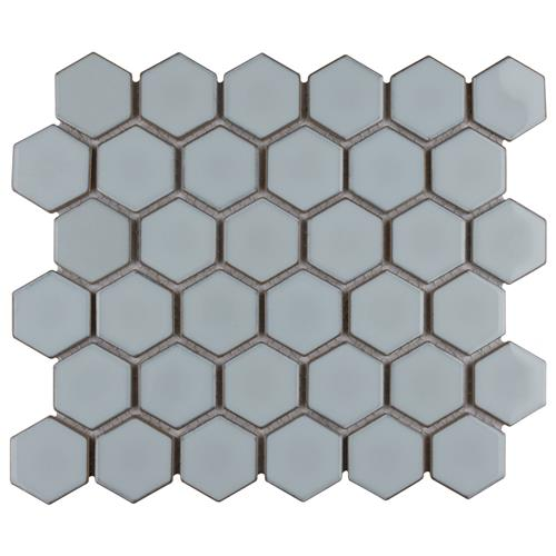 "Picture of Hudson Due Hex 2"" Silk White 12-1/2""x11-1/4"" Porc Mosaic"