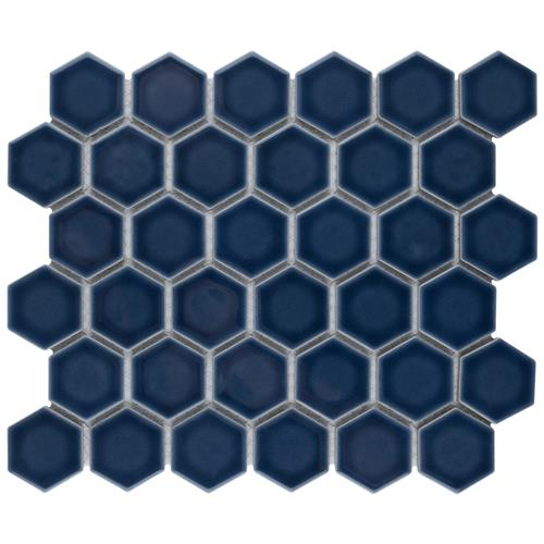 "Picture of Hudson Due Hex 2"" Denim Blue 12-1/2""x11-1/4"" Porc Mosaic"