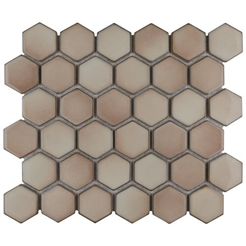 "Picture of Hudson Due Hex 2"" Truffle 12-1/2""x11-1/4"" Porcelain Mosaic"