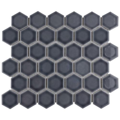 "Picture of Hudson Due Hex 2"" Storm Grey 12-1/2""x11-1/4"" Por Mosaic"