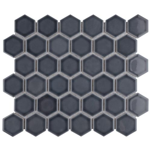 "Picture of Hudson Due Hex 2"" Imperial Grey 12-1/2""x11-1/4"" Por Mosaic"