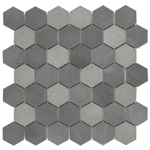 "Picture of Structure Due Hex Blk 11-3/4""x12"" Nat Lava Stone Mos"