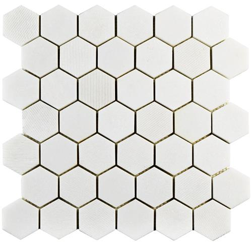 "Picture of Structure Due Hex Thassos Wht 11-3/4""x12"" Nat Marble Mos"