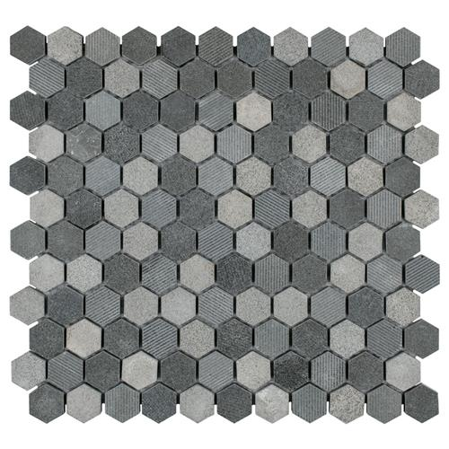 "Picture of Structure Hex Black 11""x11-5/8"" Nat Lava Stone Mos"