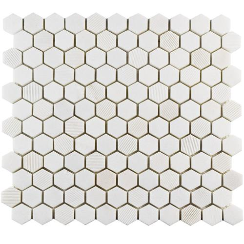 "Picture of Structure Hex Thassos Wht 11""x11-5/8"" Nat Marble Mos"