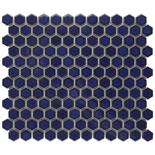 "Picture of Harlem Hex1""  Glossy Cobalt 10-1/4""x11-7/8"" Porcelain Mos"