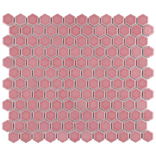 "Picture of Tribeca Hex 1"" Glossy Blush 10-1/4"" x 11-7/8"" Porc Mosaic"