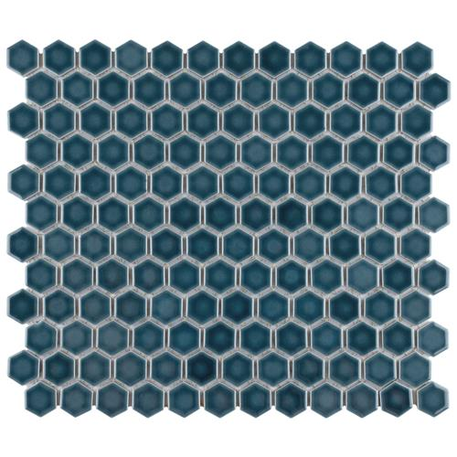 "Picture of Tribeca Hex 1"" Glacier Blue 10-1/4""x11-7/8"" Porcelain Mosaic"